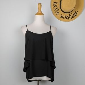 Paper Crane Teired Black Flowy Tank Top XL
